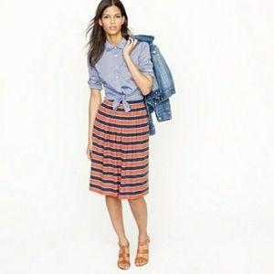 J.CREW orange and navy Gondala stripe silk skirt